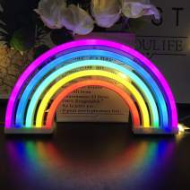 Rainbow Neon Light Signs,Rainbow Wall Decor for Girls Children Baby Room LED Lamp Rainbow Decor Kids Gifts,Battery or USB Operated Table LED Night Lights
