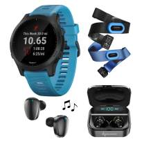 Garmin Forerunner 945 Premium GPS Running/Triathlon Smartwatch with Included Wearable4U Earbuds with Charging Case or Power Pack Bundle (Blue, Bundle +Earbuds)