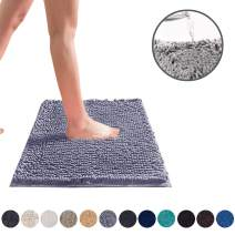 DEARTOWN Non-Slip Shaggy Bathroom Rug (Silver Grey,24X39 Inches),Soft Microfibers Chenille Bath Mat with Water Absorbent, Machine Washable