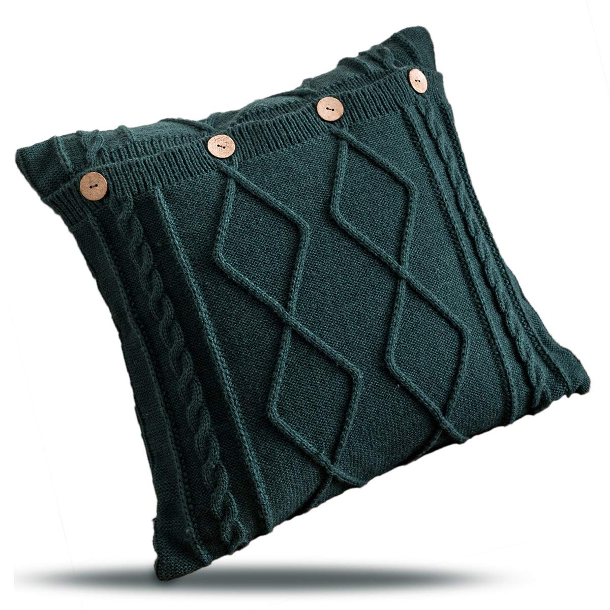 """Juanssifer Dark Green Throw Pillow Cover for Couch Sofa Bed,Cotton Decorative Knitted Patterns Square Pillow Case Cushion Covers, Dark Green Color 18"""" X 18"""" (Dark Green)"""