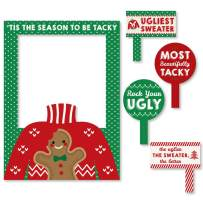 Big Dot of Happiness Ugly Sweater - Holiday and Christmas Party Selfie Photo Booth Picture Frame and Props - Printed on Sturdy Material