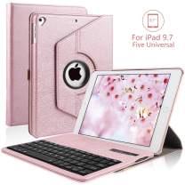 iPad Keyboard Case for 9.7 iPad 2018 (6th Gen), iPad 2017 (5th Gen), iPad Pro 9.7, iPad Air 2/ Air 1, 360 Rotatable, PU Leather, Detachable Wireless Bluetooth Keyboard for iPad 9.7 inch, Rose Gold