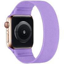 ENJINER Stretchy Nylon Solo Loop Bands Compatible with Apple Watch 38mm 40mm 42mm 44mm iWatch Series 6 SE 5 4 3 2 1 Strap, Sport Elastic Braided No Buckles Clasps Women Men Replacement Wristband
