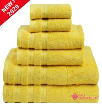 """Denmark Soft Linen Premium, 6 Piece Kitchen and Bathroom Egyptian Cotton Towel Set [Worth $72.95] - """"Buttercup yellow"""" (2 King Size Bath Towel , 2 Hand Towels , 2 Face Towel), 2 Face Towels"""