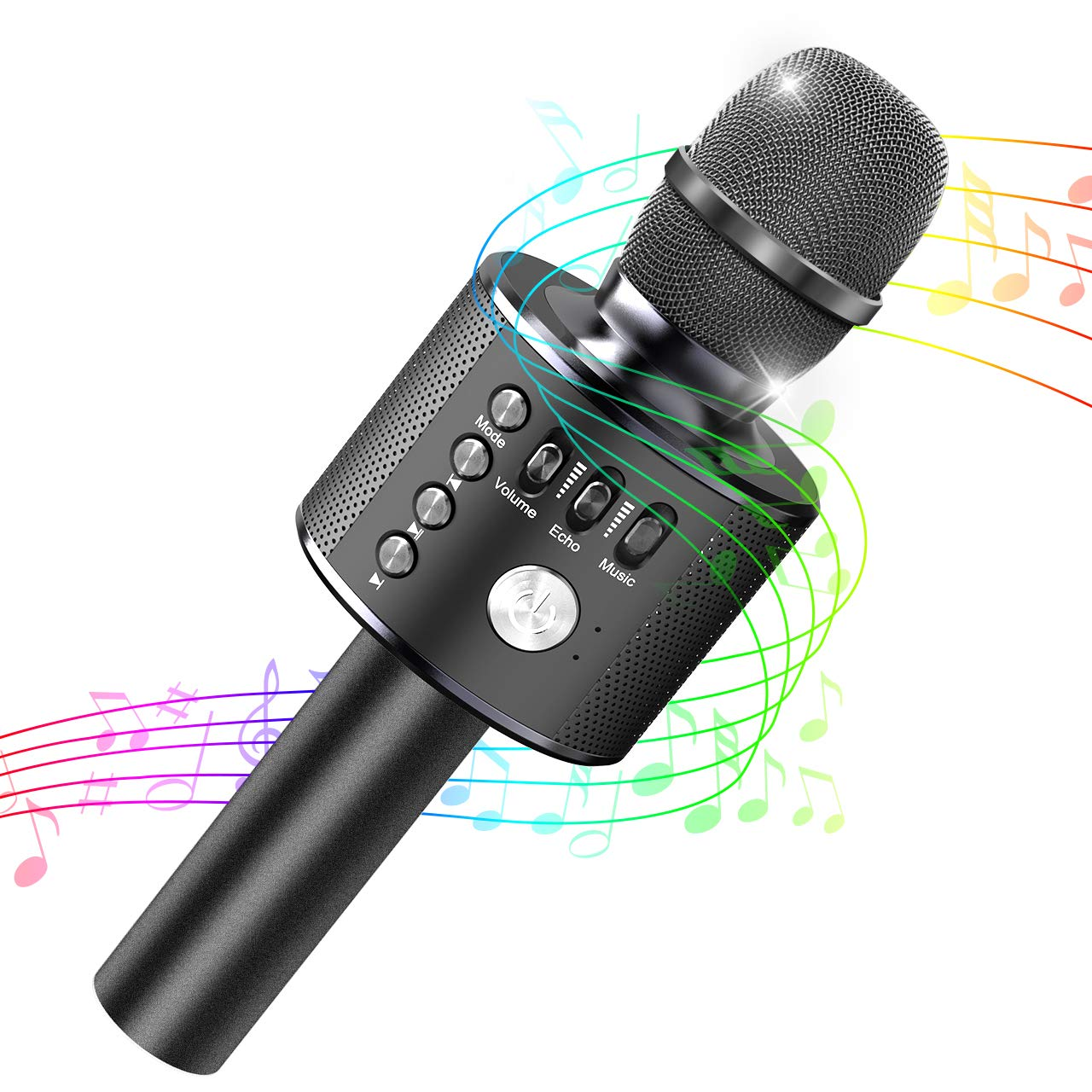 Tesoky Kids Karaoke Microphone,Best Wireless Bluetooth Karaoke Machine for Kids Fun at Party Home,Portable Handheld Microphone Best Indoor Outdoor Toys Gifts for Kids Age 3 4 5 6 7 8 9 10 (Black)