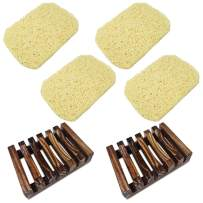 findTop Set of 6, Soap Dish Set, 2 Pieces Wood Soap Case and 4 Pieces Soap Saver Pad for Bathroom Kitchen Sink, Keep Bars Soap Case Container Clean Dry