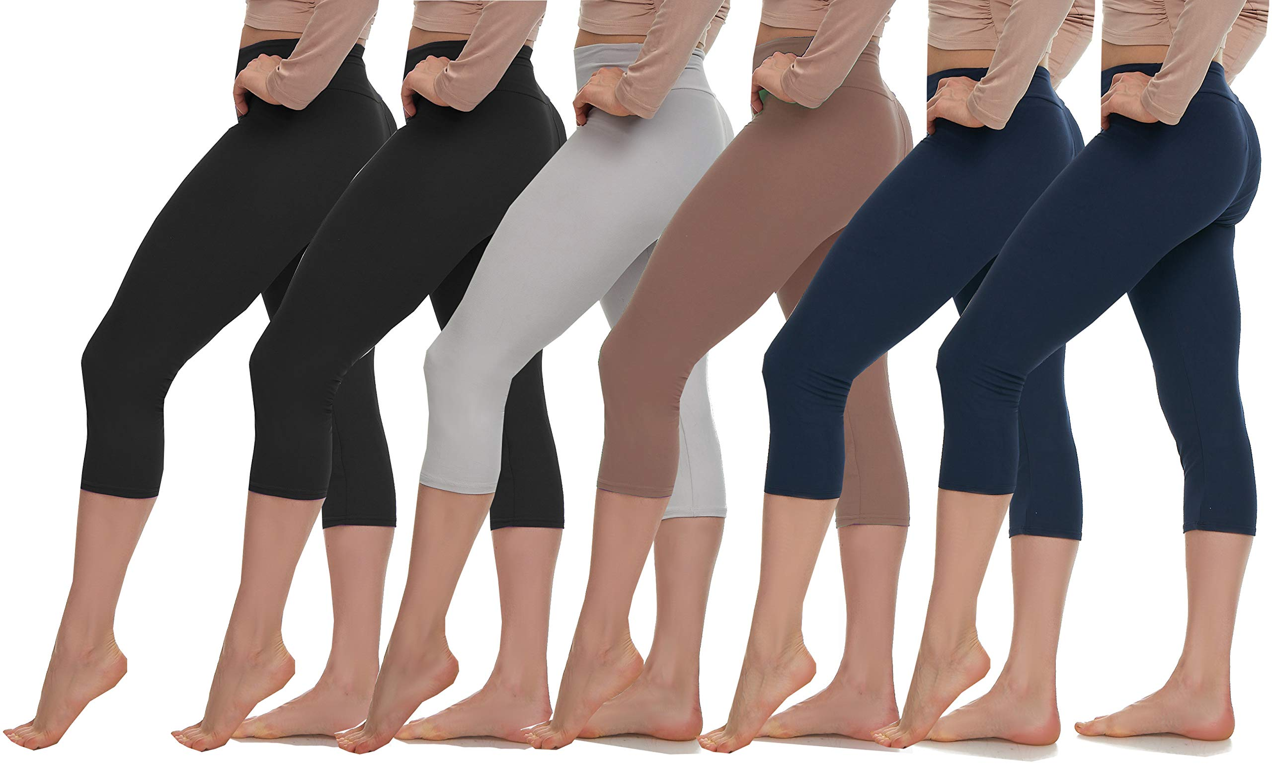 Extra Soft Capri Leggings with High Wast - 20 Colors Packs - Plus