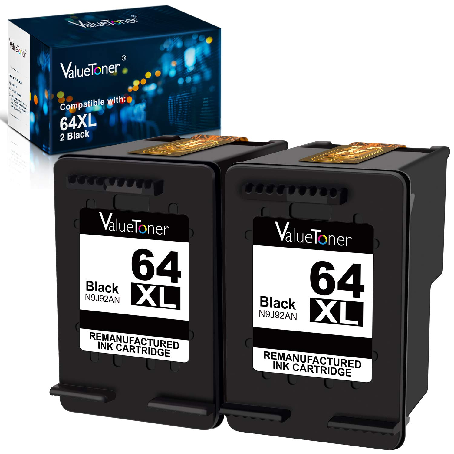 Valuetoner Remanufactured Ink Cartridge Replacement for HP 64XL 64 XL Used in Envy Photo 7858 7855 7155 6255 6252 7120 6232 7158 7164, Envy 5542 Printer (2 Black)