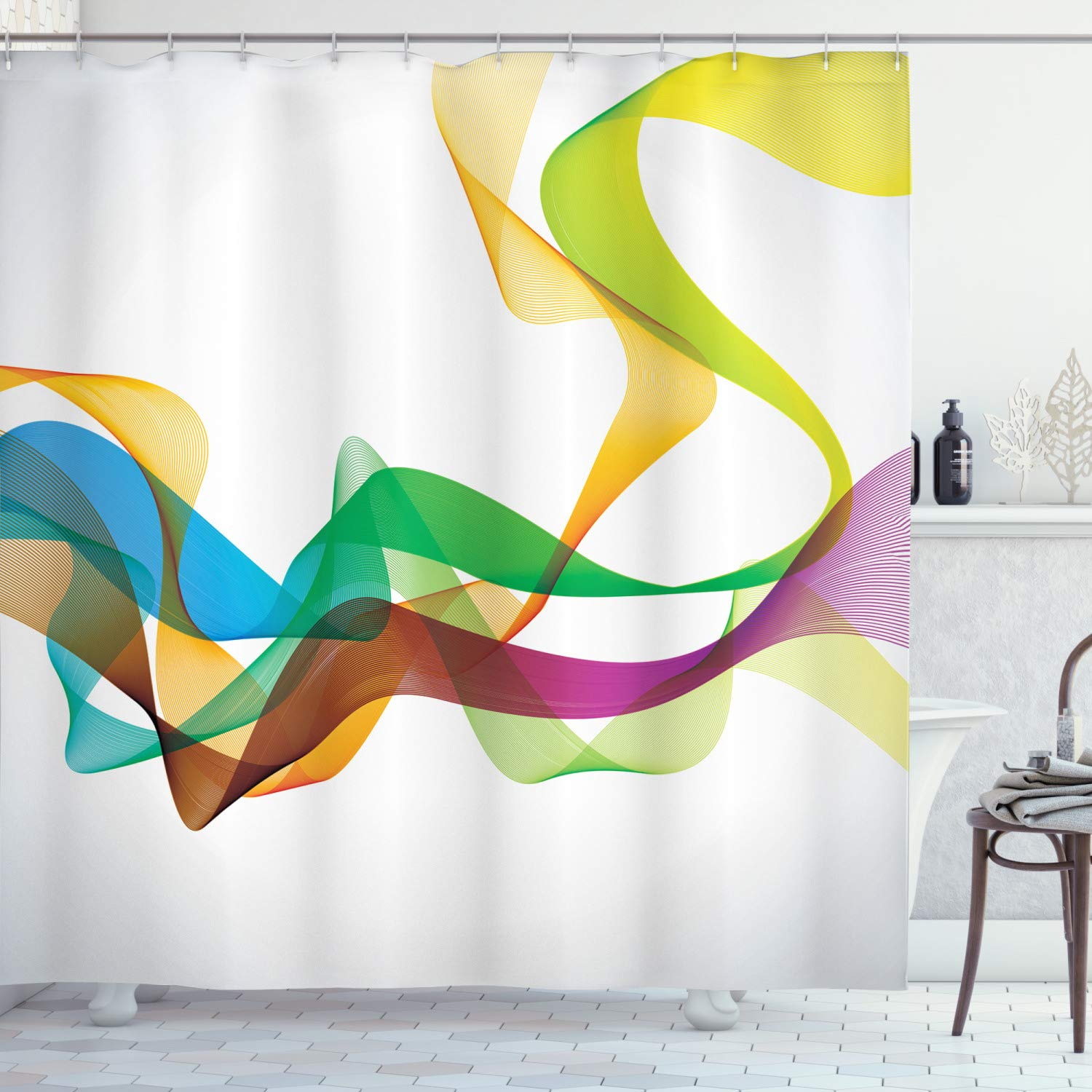 """Ambesonne Abstract Shower Curtain, Styled Wavy Ribbon Line and Smoked Rainbow Like Cool Graphic Artwork, Cloth Fabric Bathroom Decor Set with Hooks, 75"""" Long, Multi Colored"""