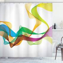 "Ambesonne Abstract Shower Curtain, Styled Wavy Ribbon Line and Smoked Rainbow Like Cool Graphic Artwork, Cloth Fabric Bathroom Decor Set with Hooks, 70"" Long, Multi Colored"