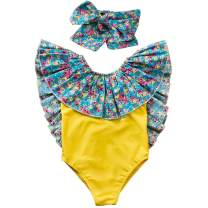 HIHA Toddler Girl Ruffle Swimsuit Baby Girls' One Piece Bathing Suit Backless Floral Print Swimwear