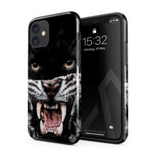 BURGA Phone Case Compatible with iPhone 11 - Lethal Hunter Savage Wild Panther Vs Tiger Cute Case for Girls Heavy Duty Shockproof Dual Layer Hard Shell + Silicone Protective Cover
