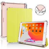 DDup iPad 7th Generation Case - New iPad 10.2 Case 2020 with Pencil Holder, Dual Shockproof Smart Leather Cover Soft Translucent Matte Back Slim Shell Auto Sleep/Wake (Yellow case for iPad 10.2)