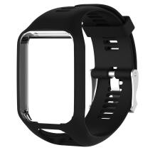 ANATYU Accessory Replacement Soft Silicone Gel Watch Band Wristband Strap Sport Bracelet for Tomtom Runner 2 / Runner 3 / Spark 3 / Adventurer/Golfer 2 Sports GPS Running Smartwatch (Black)