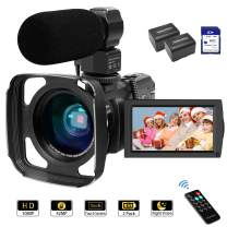 Camcorder Video Camera 1080P 42MP 16X Zoom IPS Touch Screen YouTube Vlogging Camcorder with Stereo Microphone, Wide Lens, Infrared Night Vision, 64GB SD Card, Remote Controller, 2 Batteries