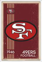 "Trends International NFL San Francisco 49ers - Retro Logo, 22.375"" x 34"", White Framed Version"