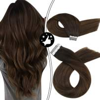 Moresoo Tape in Hair Extensions Brown Ombre Remy Tape Real Human Hair 40pcs/100g 22 Inch Balayage Tape in Hair Dark Brown Ombre to Brown Highlighted Skin Weft Glue in Hair 100% Natural Hair