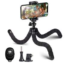Smartphone Tripod, PHOPIK Phone Tripod Portable and Flexible Adjustable iPhone & Tablet Cellphone Tripod Stand with Phone Holder, Compatible with iPhone, Android Phone Ipad Sports Camera GoPro