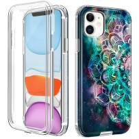 """LOEV iPhone 11 Case with Built-in Screen Protector, Full Body Heavy Duty Defender Protective Case Shockproof Hard PC & Anti-Scratch Soft TPU Bumper Rugged Cover for iPhone 11 6.1"""" 2019, Mandala"""