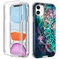 "LOEV iPhone 11 Case with Built-in Screen Protector, Full Body Heavy Duty Defender Protective Case Shockproof Hard PC & Anti-Scratch Soft TPU Bumper Rugged Cover for iPhone 11 6.1"" 2019, Mandala"