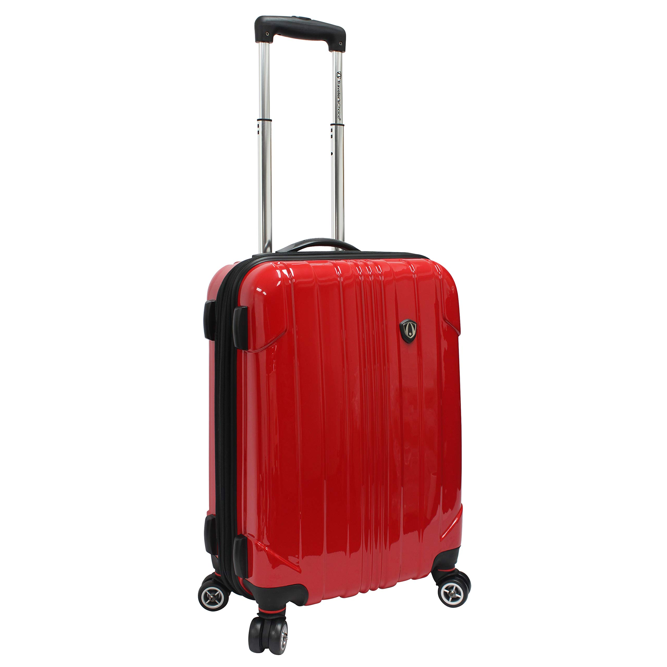 Traveler's Choice Sedona 100% Pure Polycarbonate Expandable Spinner Luggage, Red