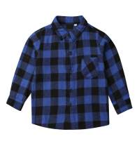 Little Kid Girls Boys Flannel Plaid Button-Down Shirt Letter Long Sleeve Buffalo Red Plaid Blouses Tops