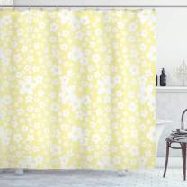 """Ambesonne Floral Shower Curtain, Graphic Daisy Blossoms Design on Yellow Background Spring Flowers Artwork, Cloth Fabric Bathroom Decor Set with Hooks, 70"""" Long, Yellow White"""