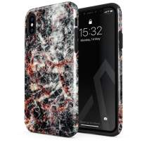 BURGA Phone Case Compatible with iPhone Xs MAX - Volcano Island Lava Fire Black Marble Cute Case for Woman Heavy Duty Shockproof Dual Layer Hard Shell + Silicone Protective Cover