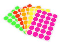 ChromaLabel 3/4 Inch Permanent Round Color-Code Dot Stickers, 5 Assorted Colors, 1200/Variety Pack, 24 Labels/Sheet, Fluorescent