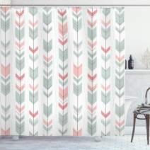 "Lunarable Arrow Shower Curtain, Retro Style Pattern with Pastel Colors Peruvian Vintage Art Motifs, Cloth Fabric Bathroom Decor Set with Hooks, 70"" Long, Green Peach"