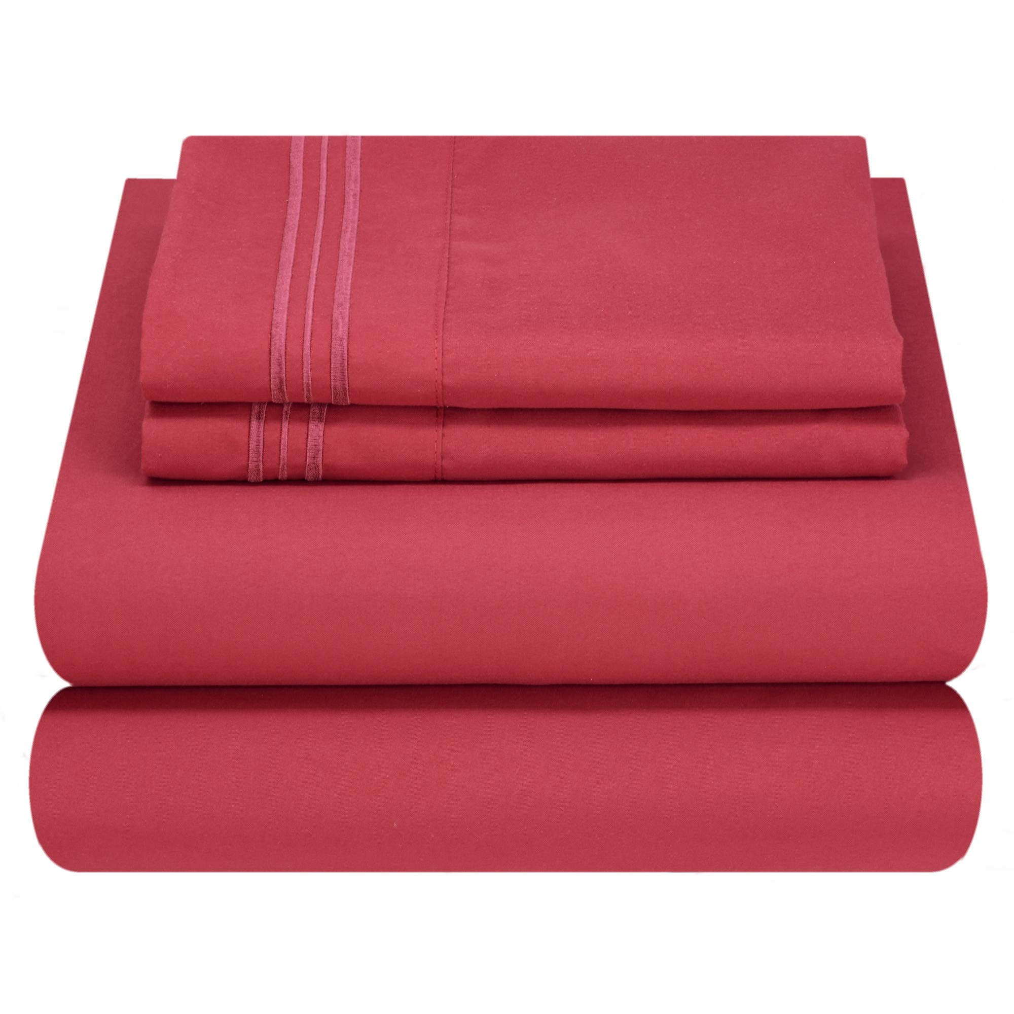 Mezzati Luxury Bed Sheet Set - Soft and Comfortable 1800 Prestige Collection - Brushed Microfiber Bedding (Burgundy, Twin XL Size)