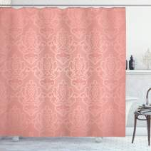 "Ambesonne Peach Shower Curtain, Lace Style Background with Antique Wedding Inspiration Motifs Ornamental Vintage Design, Cloth Fabric Bathroom Decor Set with Hooks, 70"" Long, Coral"