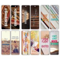 Creanoso Booknerd Reading Lovers Bookmarker Cards (60-Pack) – Reading Encouragement Quotes Sayings for Readers – Great Stocking Stuffers Gift for Men, Women, Adult, Teens