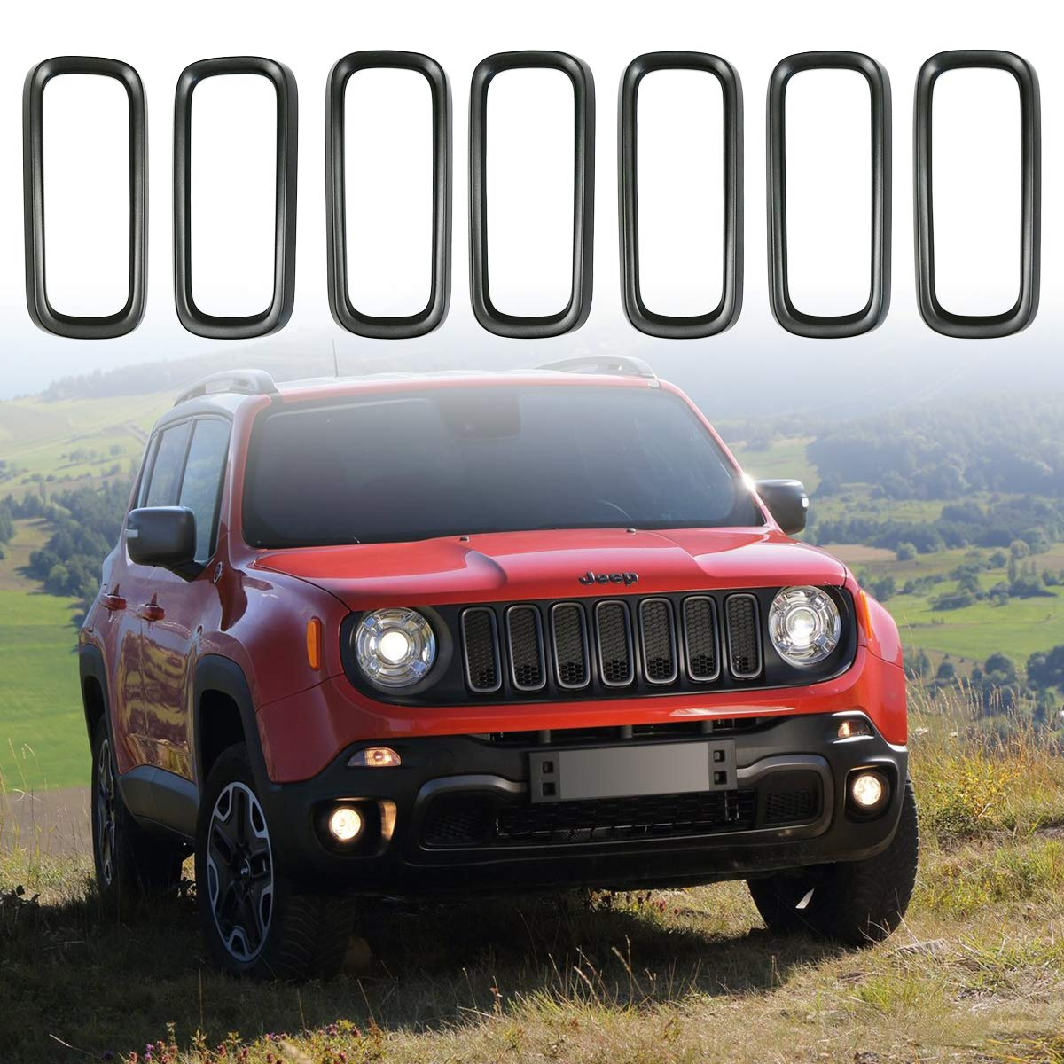 XBEEK 7PCS Front Grille Insert Ring Direct Replacement Grill Cover Trim for Jeep Renegade 2015 2016 2017 2018 (Dark Gray)