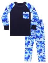 Hawiton Camouflage Sleepwear Children's Cotton Pajamas Set Toddler Kids Cute Soft Short Sleeve Loungewear with Pocket