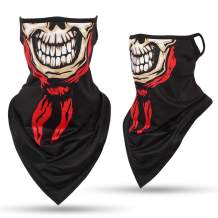 FALETO Ghost Skull Neck Gaiter Windproof for Motorcycling, Dust, Fishing, Riding, Festivals, Outdoors