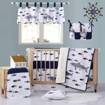 Brandream Baby Boys Crib Bedding Nautical Shark Printed Baby Nursery Bedding Navy Blue (11 Pieces Baby Crib Bedding Set)
