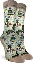 Good Luck Sock Women's Happy Racoons Socks - Brown, Adult Shoe Size 5-9