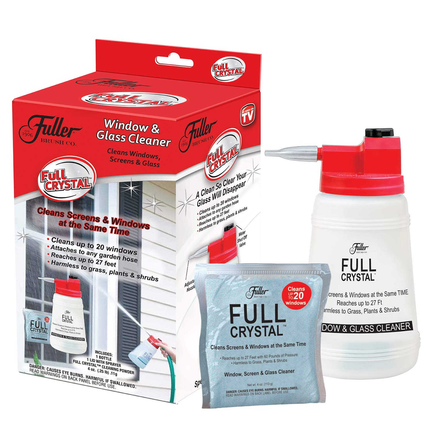 Full Crystal Kit - Bottle, Lid with Hose Attachment, and 4 oz. Crystal Powder Exterior Window Cleaner Packet for Glass and Screens (Cleans Up To 20 Windows)