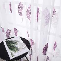 MRTREES Embroidered Sheer Curtains Panels Rod Pocket Curtain Sheers Living Room Purple Leaves Embroidery on White Bedroom Voile Drapes Kitchen Nursery Kidsroom 2 Panels