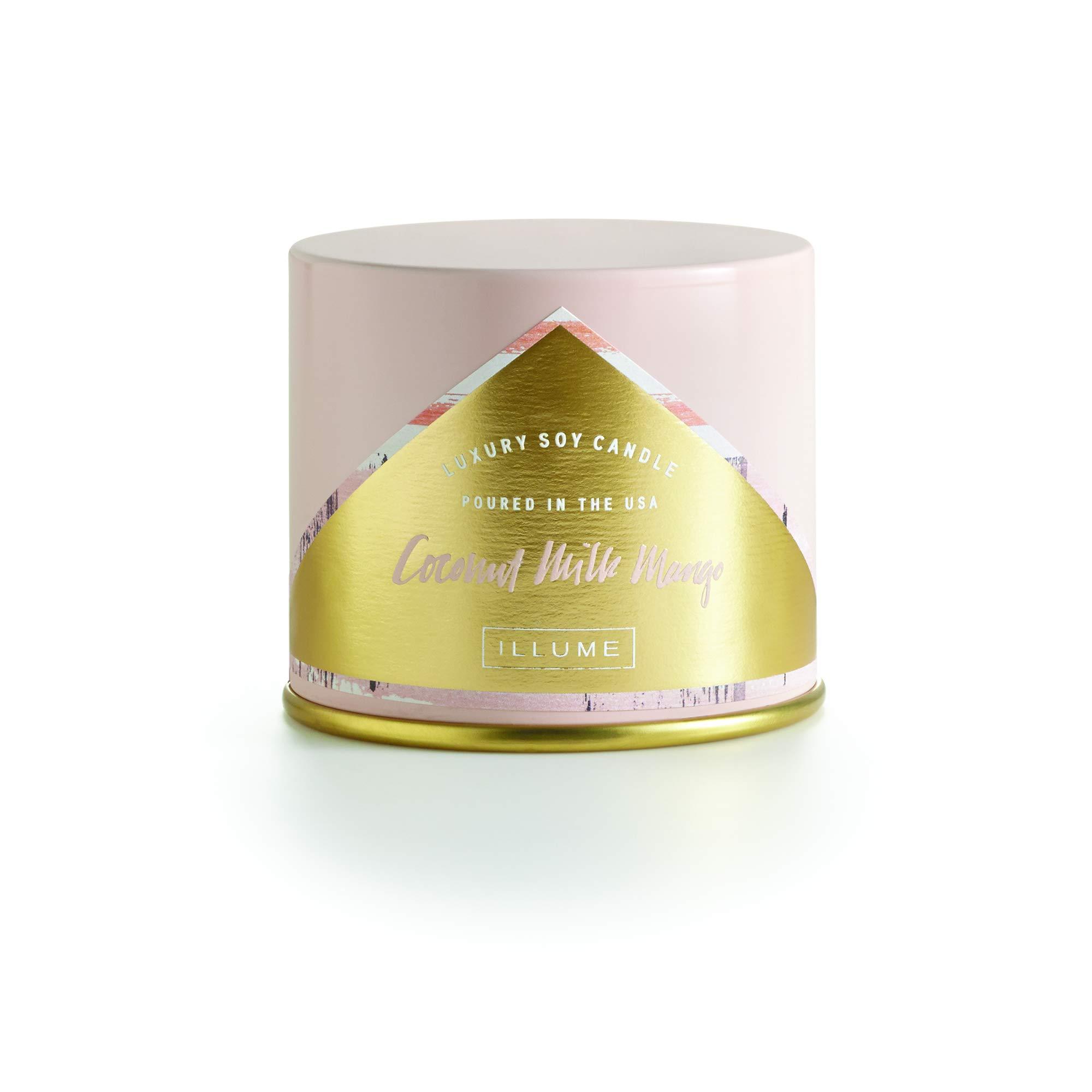 Illume Coconut Milk Mango Vanity Tin, 11.8oz Candle, 11.8 oz, Pink