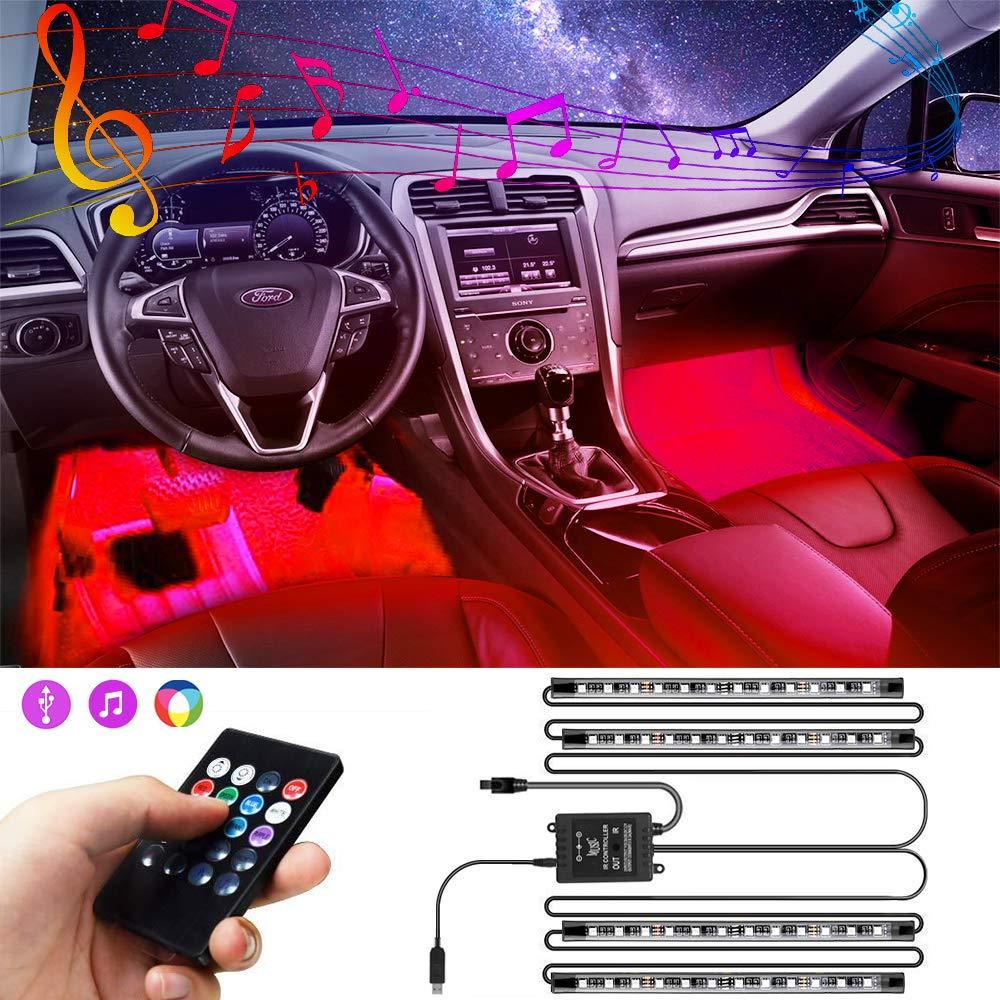 Car Interior Lights, innislink Two-Line Design USB Car LED Strip Lights With Remote Control, 4pcs 48 LED Multi DIY Color Music Interior Car Lighting Kit With Sound Active Function, Waterproof, DC 5V