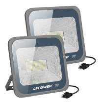 LEPOWER 50W LED Flood Light Outdoor, Work Light with Plug, IP66 Waterproof Outdoor LED Lights Super Bright 5000lm 6000K White Light for Yard, Garden, Party (2 Pack)