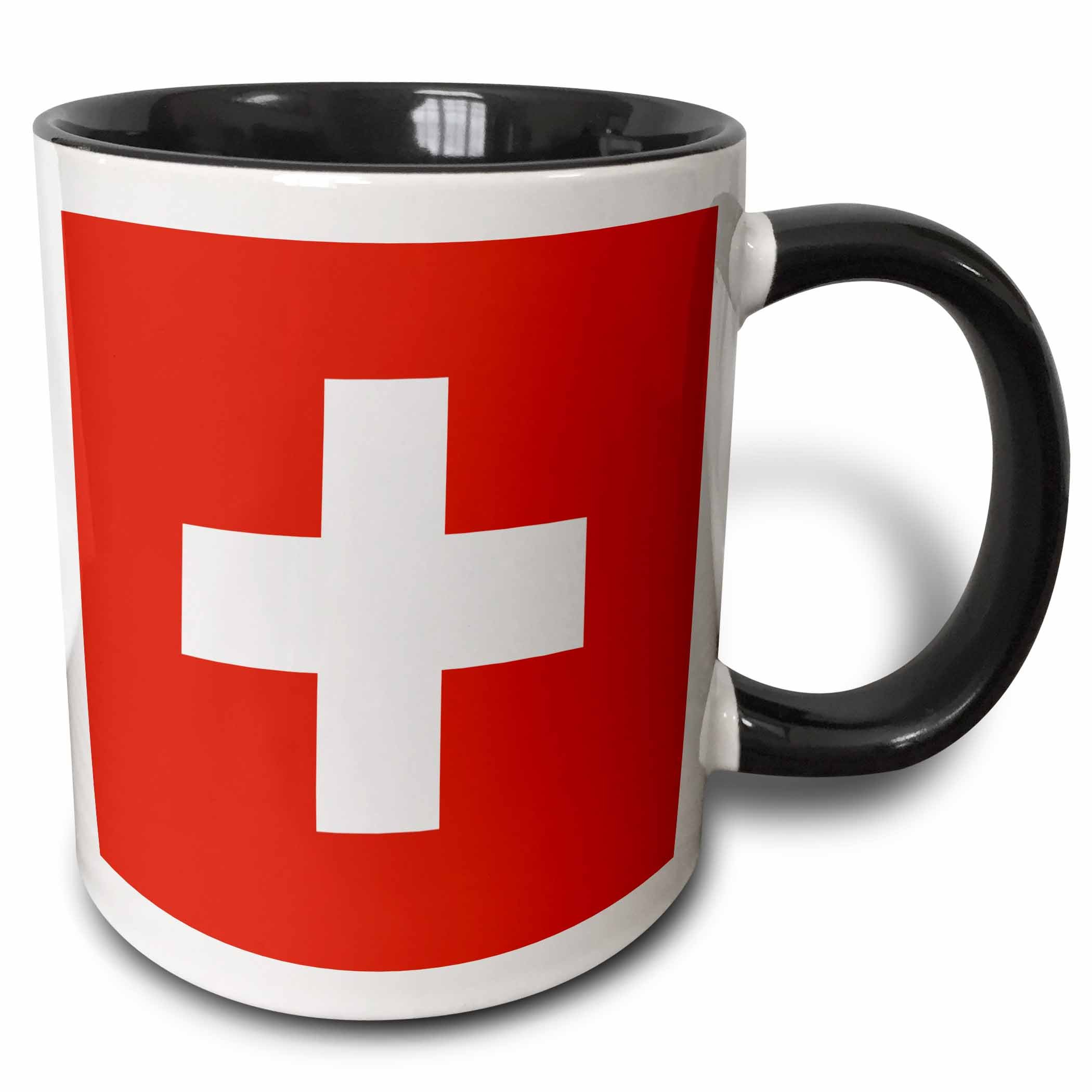 3dRose 158442_4 Flag Of Switzerland Mug, 11 oz, Black