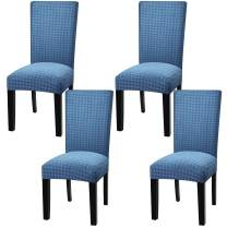 Fuloon 2 4 6 Pack Stretch Dining Chair Covers,Removable Washable Anti-Dust Dinning Room Chair Seat Cushion Slipcovers (4, Light Blue)