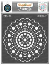 CrafTreat Dot Mandala Stencils for Painting on Wood, Canvas, Paper, Fabric, Floor, Wall and Tile - Round Dot Mandala - 6x6 Inches - Reusable DIY Art and Craft Stencils - Dots Spiral Stencil