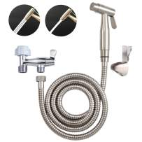 Hibbent Dual Function 2 Sprayer(Stream/Jet) Handheld Bidet Toilet Shattaf Cloth Diaper Sprayer Kit - Premium Hand Shower for Personal Hygiene Cleaning with No Leaking Attachment - Stainless Steel