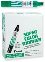 PILOT Super Color Jumbo Refillable Permanent Markers, Xylene-Free Green Ink, Extra-Wide Chisel Point, 12 Count (45400)