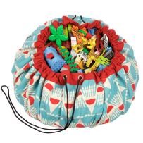 """Play Mat and Toy Storage Bag - Durable Floor Activity Organizer Mat - Large Drawstring Portable Container for Kids Toys, Books - 55"""", Badminton"""