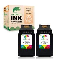 Coloretto Re-Manufactured Ink Cartridge for Canon 246 CL-246XL High Yield, Ink Level Display for Canon PIXMA MG2520 MG2522 MX490 MX492 MG2920 MG2922 IP2820 TS3122, (2 Color)
